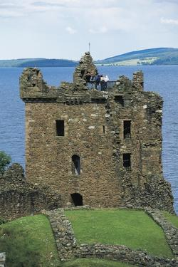 Tower of Urquhart Castle on Banks of Loch Ness, Drumnadrochit, Scotland, United Kingdom