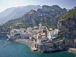 Town at the Waterfront, Amalfi, Atrani, Amalfi Coast, Salerno, Campania, Italy