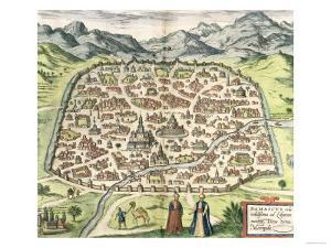 Town Map of Damascus, Syria, 1620
