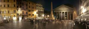 Town Square with Buildings Lit Up at Night, Pantheon Rome, Piazza Della Rotonda, Rome, Lazio, Italy