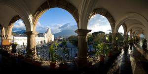 Town Viewed Through from a Palace, Palacio De Los Capitanes Generale, Antigua Guatemala, Guatemala