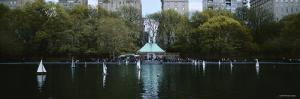 Toy Boats Floating on Water, Central Park, Manhattan, New York, USA