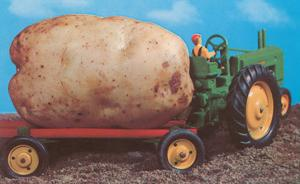 Toy Tractor Hauling Giant Potato