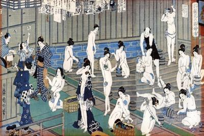 Bath House Scene, a Print by Toyohara Kunichika, 19th Century