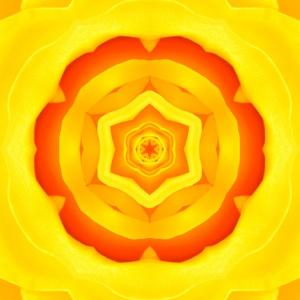 Yellow Concentric Flower Center: Mandala Kaleidoscopic Design by tr3gi