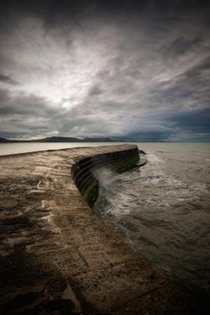 A Stormy Day on the Cobb at Lyme Regis in Dorset, England UK by Tracey Whitefoot