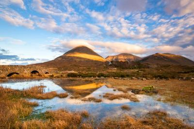 Reflections on a Lochan at Sligachan Bridge on the Isle of Skye, Scotland UK by Tracey Whitefoot