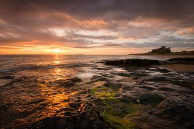 Sunrise on the Beach at Bamburgh, Northumberland UK by Tracey Whitefoot