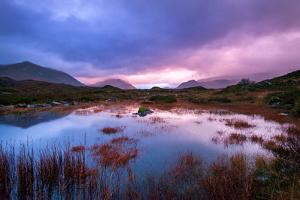 Sunset on a Lochan at Sligachan on the Isle of Skye, Scotland UK by Tracey Whitefoot