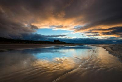 Sunset on the Beach at Bamburgh, Northumberland England UK by Tracey Whitefoot