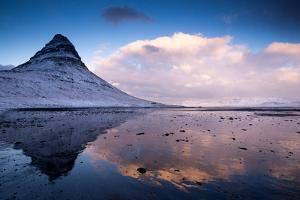 Winter at Kirkjufell Mountain on the Snaefellsnes Peninsula in Iceland by Tracey Whitefoot