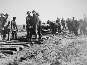 Track-Layers Gang-Building the Union Pacific Railroad Through American Wilderness, 1860S
