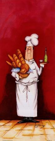 Chef With Bread And Oil by Tracy Flickinger