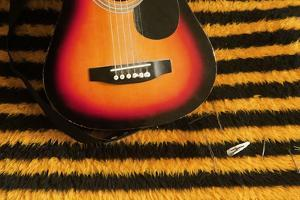 Guitar on Yellow and Black Striped Fabric. by Tracy Packer Photography