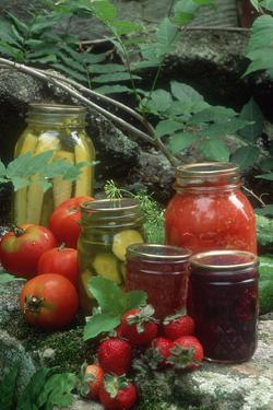 Traditional Homemade Pickles, Tomatoes, and Fruit Jam