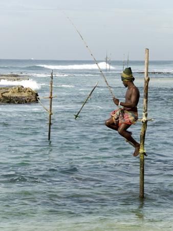 Traditional Stilt Fisherman, Koggala, Near Weligama, South Coast of Sri Lanka, Asia