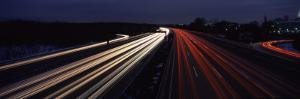 Traffic on a Road at Evening, Autobahn 5, Hessen, Frankfurt, Germany