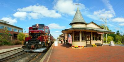 Train at railway station, New Hope, Bucks County, Pennsylvania, USA