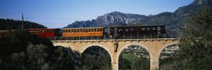 Train Crossing a Bridge, Sierra de Tramuntana, Majorca, Spain