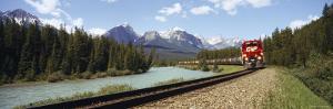 Train on a Railroad Track, Morant's Curve, Banff National Park, Alberta, Canada