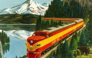 Train Through Rocky Mountains