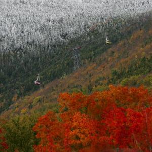Tram Cars Take Tourists Up Cannon Mountain in New Hampshire as Snow Meets with Changing Leaves