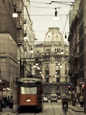 Tram on a Street, Piazza Del Duomo, Milan, Lombardy, Italy