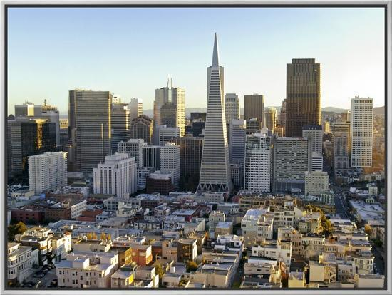 Transamerica Pyramid Building and Downtown from Top of Coit Tower-Emily Riddell-Framed Canvas Print