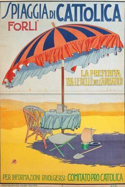 Travel Poster For Spiaggia Di CattolicaItalian Riviera Unknown Artist 20th C