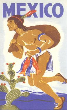 Travel Poster with Tarahumara Indian Running