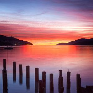 Beautiful Sunrise with Colours of Red, Orange and Purple, Canterbury New Zealand by Travellinglight