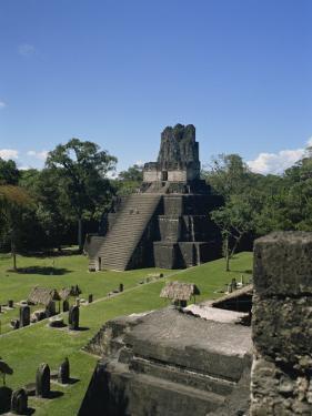 Temple II, Great Plaza, Tikal, UNESCO World Heritage Site, Guatemala, Central America by Traverso Doug