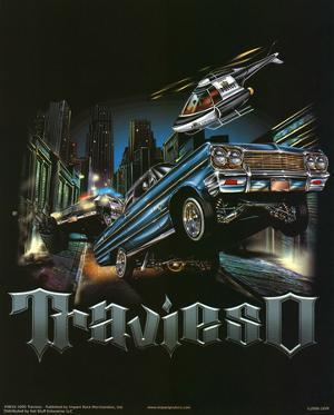 Travieso (Cars on Street) Art Poster Print