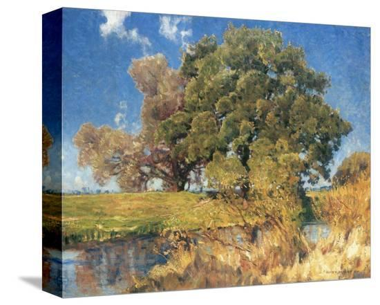 Trees near Water-Eugen Bracht-Stretched Canvas