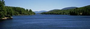 Trees on Both Sides of a Lake, Long Lake, Adirondack State Park, New York State, USA