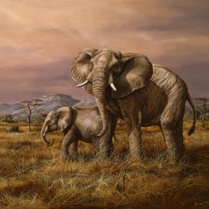 Mother and Child (Elephants) by Trevor V. Swanson