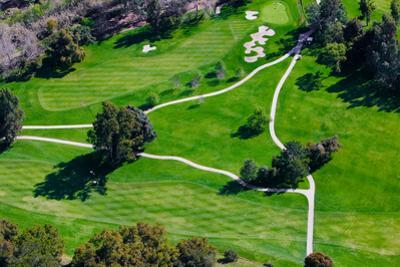 Triangular aerial view of Ojai Valley Inn Country Club Golf Course in Ventura County, Ojai, CA