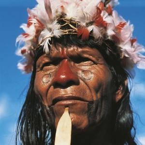 Tribe Chief of the Karaja People Living on the Rio Araguaia
