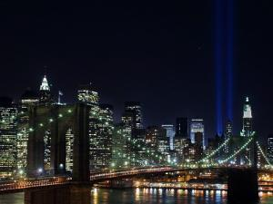 Tribute to Victims of World Trade Center Terrorist Attacks Lights Up the Sky Above Manhattan