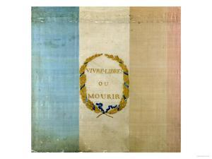 """Tricolore with the Motto """"Live Free or Die,"""" 1792 (Painted Fabric)"""