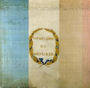 "Tricolore with the Motto ""Live Free or Die,"" 1792 (Painted Fabric)"