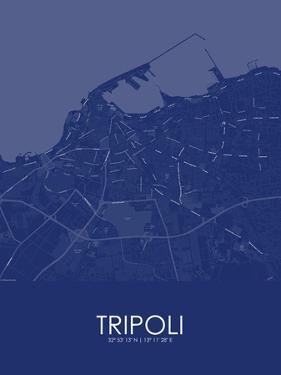 Tripoli, Libya Blue Map