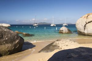 Bvi, Virgin Gorda, the Baths NP, Coastal Beach and Sail Boats by Trish Drury