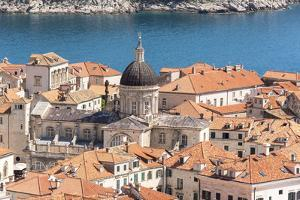 Croatia, Dubrovnik. Old City Cathedral, red tile roofs and Adriatic. by Trish Drury