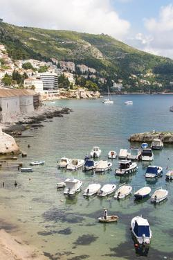 Croatia, Dubrovnik. View of marina and coastline from old city wall. by Trish Drury