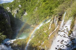 Croatia, Plitvice National Park. Double rainbow lower falls. by Trish Drury