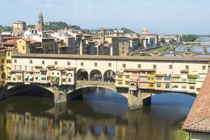 Europe, Italy, Florence. View of Arno River and Ponte Vecchio by Trish Drury