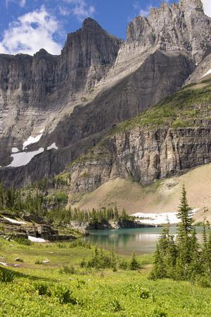 Glacier NP. Ptarmigan Wall. Alpine Lake Along Iceberg Lake Trail