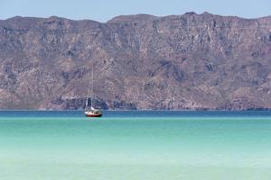 Mexico, Baja California Sur, Sea of Cortez, Loreto Bay. Lone sailboat. by Trish Drury