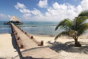 Placencia, Belize. Roberts Grove Resort, Pier Leads from Beach to Bar by Trish Drury